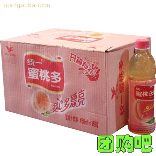 [統一飲料]統一蜜桃多  整箱裝 450ml*15